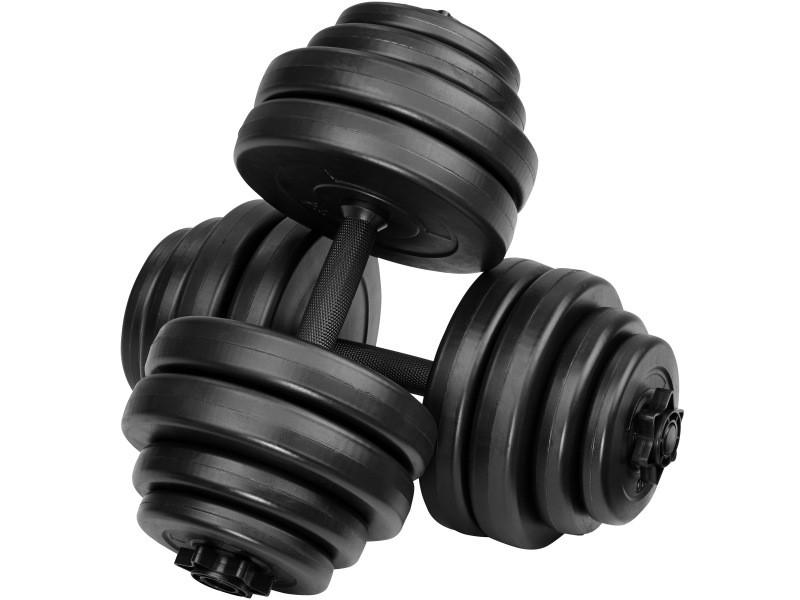 Tectake 2 haltères courts et poids, haltère de musculation - 2 x 15 kg 402587