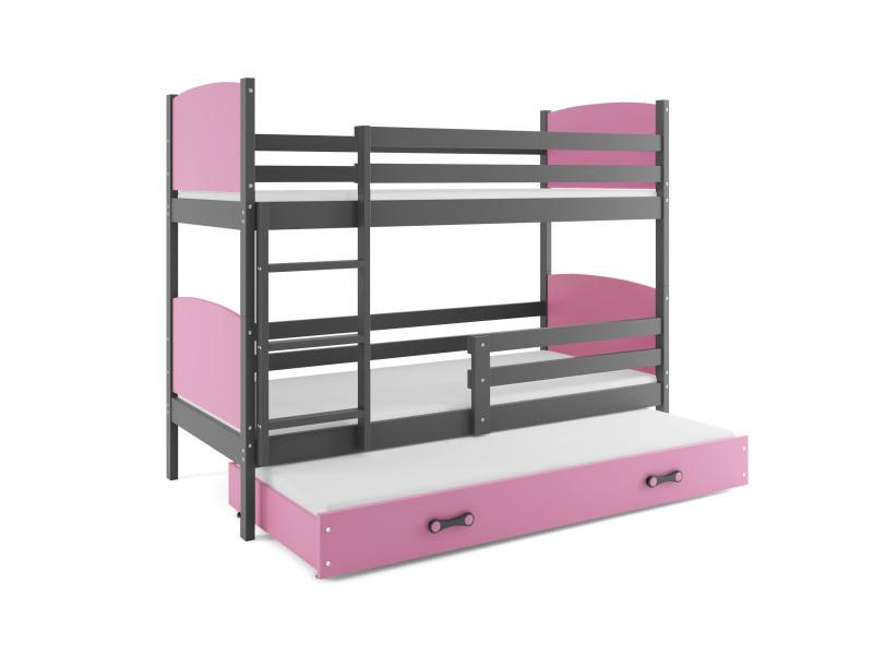 lit superposé tami 3 places 160x80 avec 3 matelas de