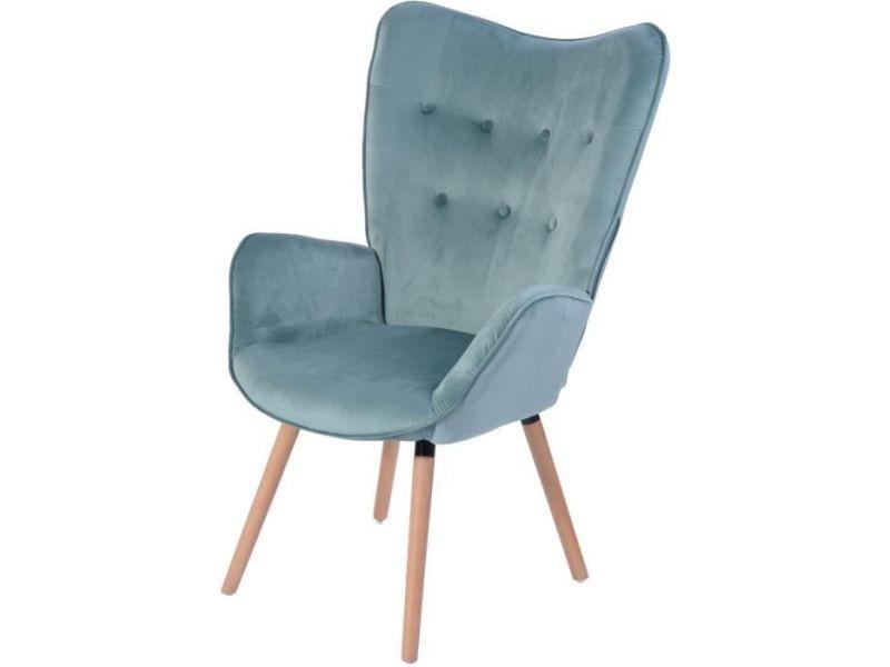 Fauteuil viggo fauteuil tissu velours bleu vert d'eau