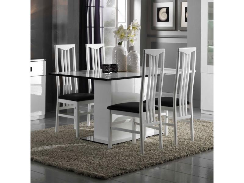 Table de repas laquée blanche - zeme - l 160 x l 90 x h 77 cm