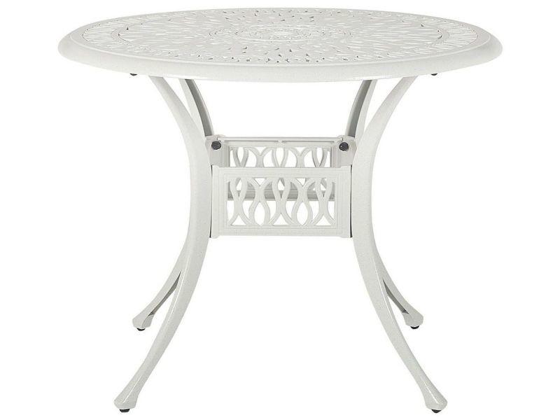 Table de jardin ronde ø 90 cm en aluminium blanc ancona 264262