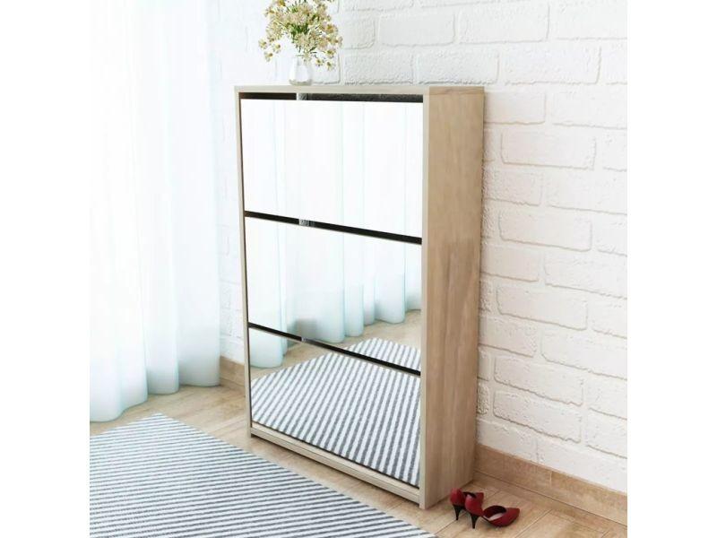 Magnifique rangements pour armoires à vêtements collection vaduz meuble à chaussures 3 étagères miroir 63 x 17 x 102,5 cm chêne