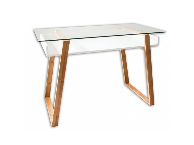 Table bureau secrétaire moderne - verre, bois naturel avec étagère blanc laqué - design contemporain