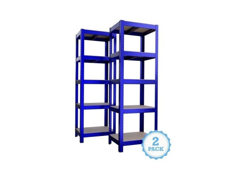 Étagère de rangement polyvalente en métal (lot de 2) charge lourde max 875kg - 180 x 60 x 45 cm - bleu
