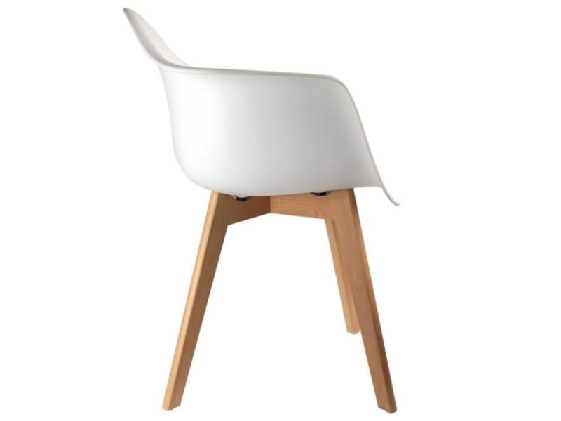 dimh Lot 2 blanc en de fauteuils coloris polypropylène Nm8n0Ovw