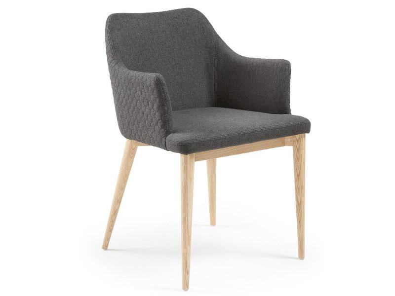 Chaise Avec Accoudoirs Tissu Diana Anthracite Vente De Chaise