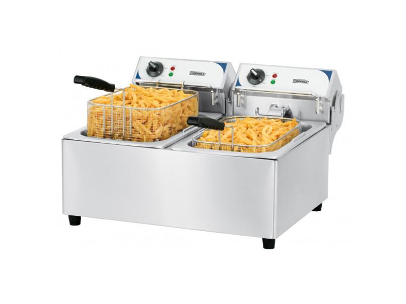 Friteuse électrique professionnelle - 2 x 10 litres - 2x 2 800 w - casselin -