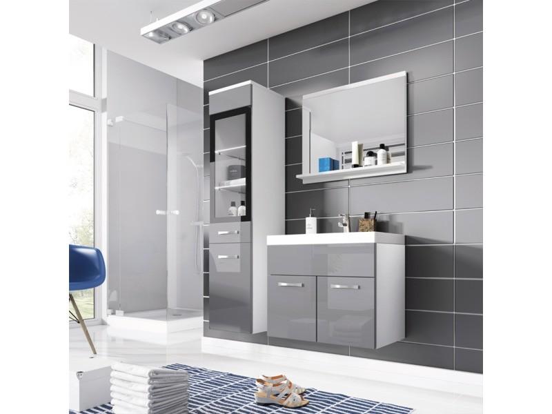 Ensemble salle de bain - ipanema - blanc mat / gris brillant - 4 ...