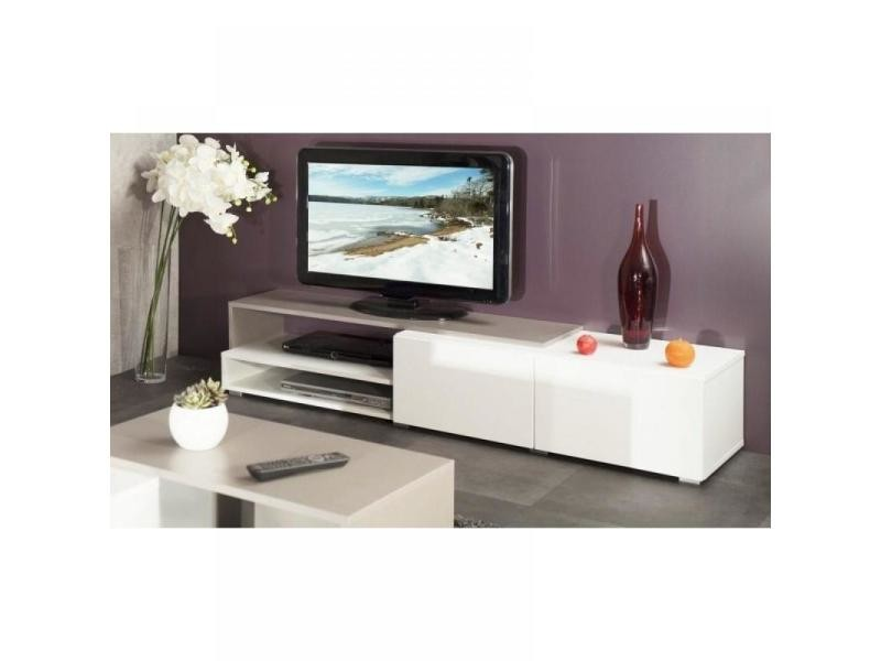 pacific meuble tv couleur blanc et taupe laqu brillant grand mod le 20100831641 conforama. Black Bedroom Furniture Sets. Home Design Ideas