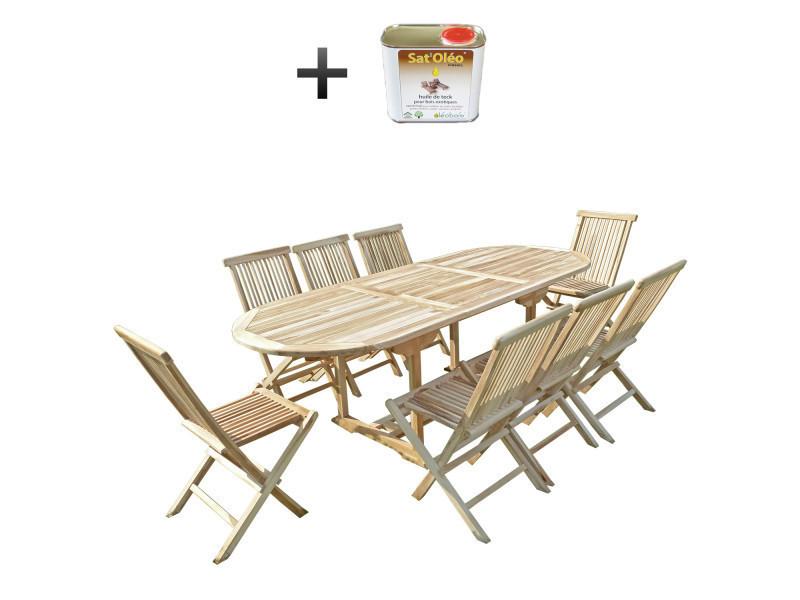 Ensemble salon de jardin en teck mahui 8 chaises - bundle ...