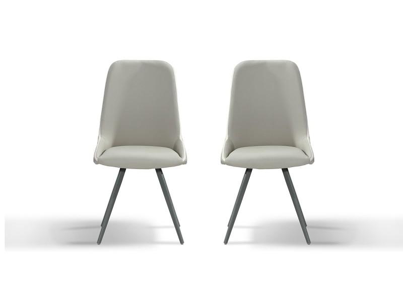 Chaise design isora - gris/taupe - lot de 2