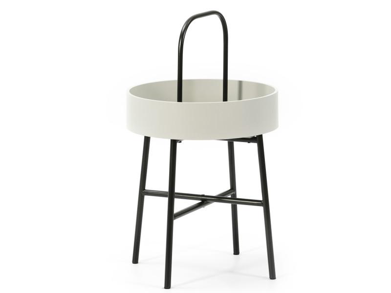 Table auxiliaire table basse ronde Jaipur avec plateau en mdf gris clair et structure métallique en couleur noir mat/diamètre: 40 cm