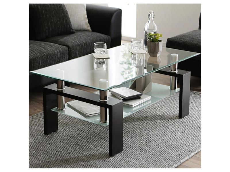 Table basse pour salon - en verre et bois - avec étagère