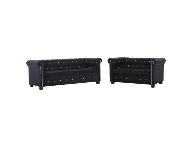 Vidaxl canapés chesterfield 2 pcs revêtement en velours noir 275615