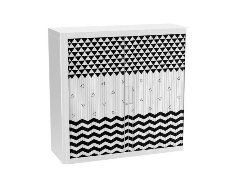 Armoire de bureau métalique porte coulissante h 1m - trio black & white
