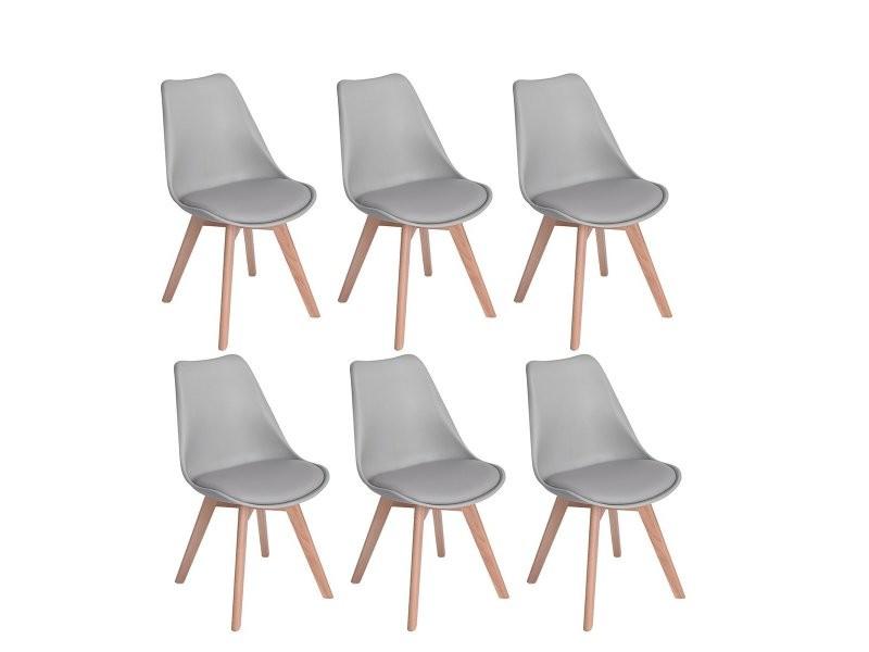 Lot de 6 chaises design contemporain nordique scandinave -tulipe chaises- pieds en bois de hetre massif - gris