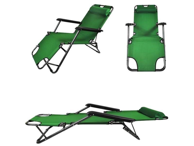 Transat chaise longue jardin plage 3 positions vert - Vente de ...