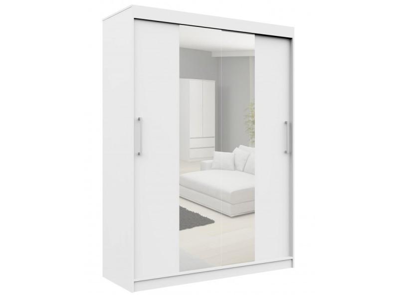 Helia | armoire à portes coulissantes + grand miroir chambre couloir salon | 200x150x60cm | armoire penderie moderne - blanc