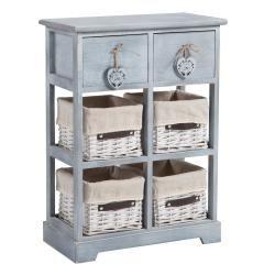 Commode rocco rangement 2 tiroirs et 4 paniers en bois de paulownia style shabby chic vintage rustique romantique gris
