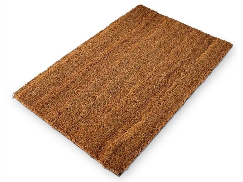 Paillasson tapis porte d'entrée essuie-pieds fibre de coco marron 60 x 40 cm helloshop26 2013023