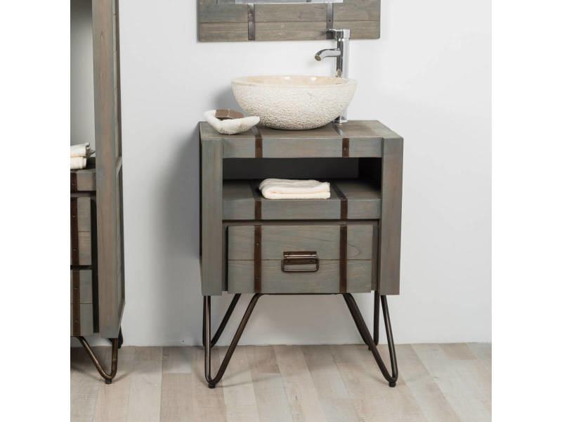 Meuble de salle de bain loft en mindi et métal 60 cm gris 31051G