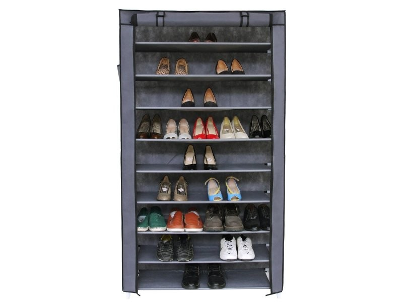 armoires penderie tissu meuble de rangement chaussure gris 160 cm helloshop26 2012035 vente de. Black Bedroom Furniture Sets. Home Design Ideas
