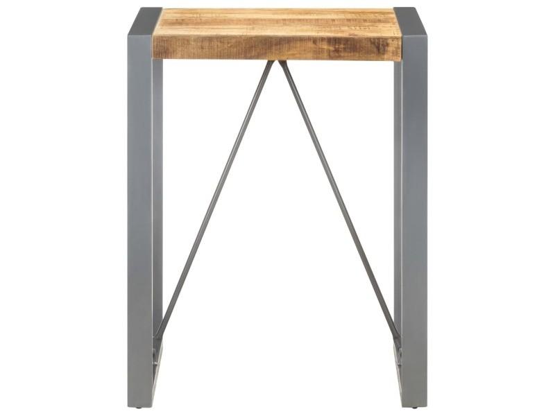 Vidaxl table de salle à manger 60x60x75cm bois de manguier massif brut 321595