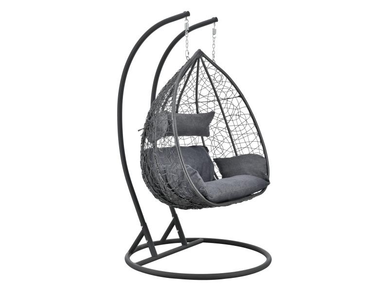 Siège suspendu 2 places panier cadre coussins fauteuil zen pour intérieur extérieur support solide acier housse amovible polyester capacité 250 kg polyrotin hauteur 195 cm gris foncé [en.casa]