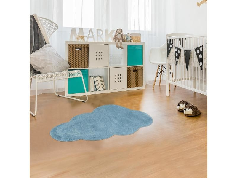 Tapis enfant 60x110 cm rectangulaire nuage 1 beige chambre tufté main coton