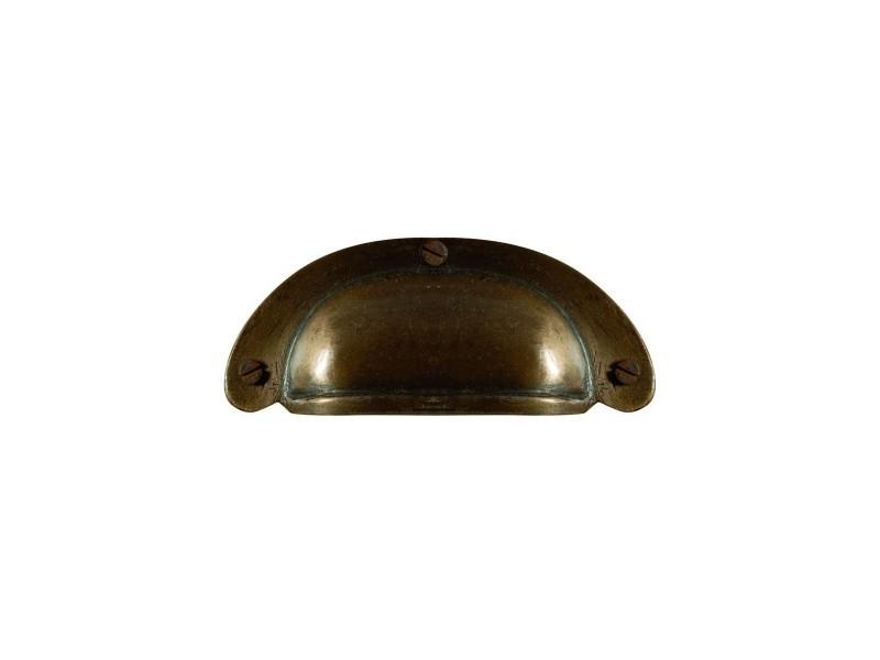 Poignée tiroir coquille patinée - couleur laiton doré vieilli