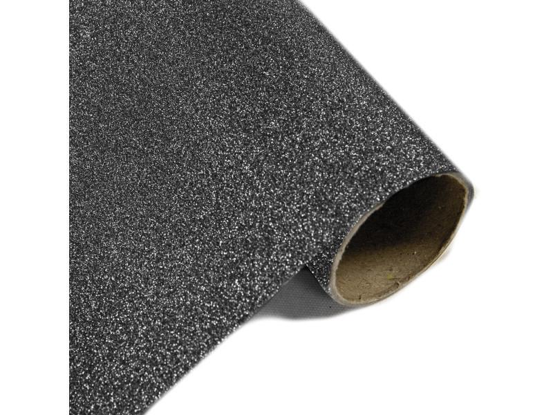 Lot de 10 rouleaux chemin de table effet en métal pailleté noir - 28 cm x 5m