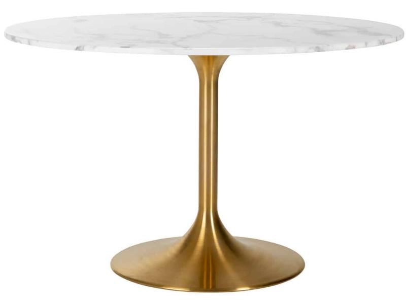 Table de salle à manger contemporaine coloris blanc et or ...