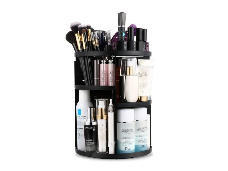 Organiseur de maquillage, tournant à 360°, 7 etagères ajustables, noir