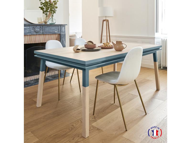 Table extensible bois massif 120x70 cm bleu frehel - 100% fabrication française