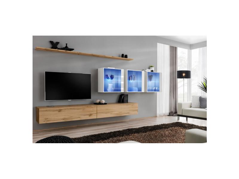 Ensemble mural - switch xvii - 3 vitrines led - 2 banc tv - 2 étagères - bois et blanc - modèle 1