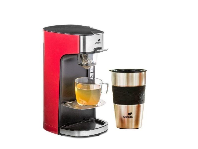 Senya machine à thé tea time, théière électrique rouge et son tea mug isotherme double paroi
