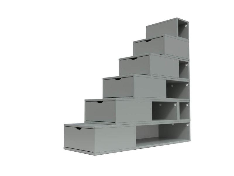 Escalier cube de rangement hauteur 150cm gris ESC150-G