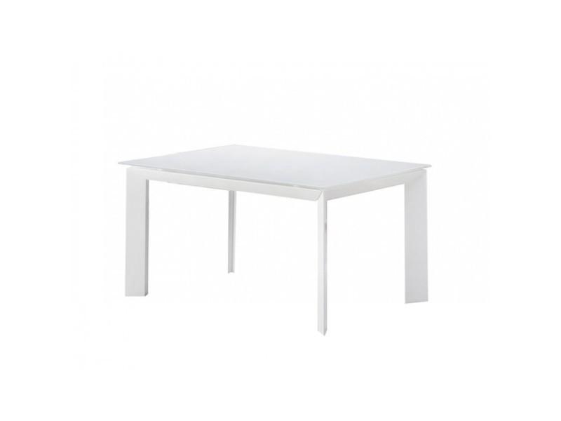 Table extensible 140/200 cm rectangulaire plateau verre blanc - fuji