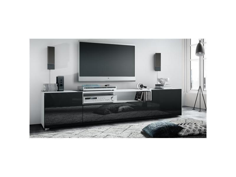 Meuble tv blanc mat / façade laquée noir