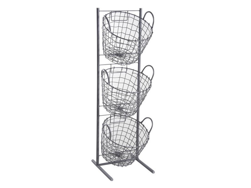 Présentoir en métal gris avec 3 corbeilles rondes, 29 x 27 x 90 cm -pegane-