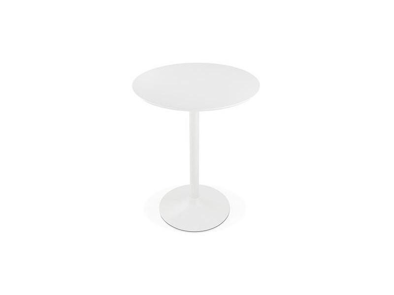 Table de bar ronde 90 cm en bois et métal blanc - barman