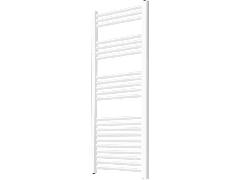 Sèche serviette pour salle de bain mural en acier inoxydable vertical radiateur chauffe serviette 140 x 60 cm blanc helloshop26 01_00000044