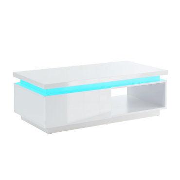 Cosmos Table Basse A Led Contemporaine Laque Blanc Brillant L120 Cm Cosmos06 Vente De Table Basse Conforama