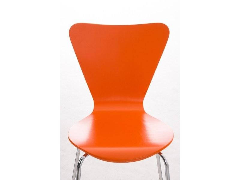 Lot de 4 chaises de séjour bureau en bois orange et métal