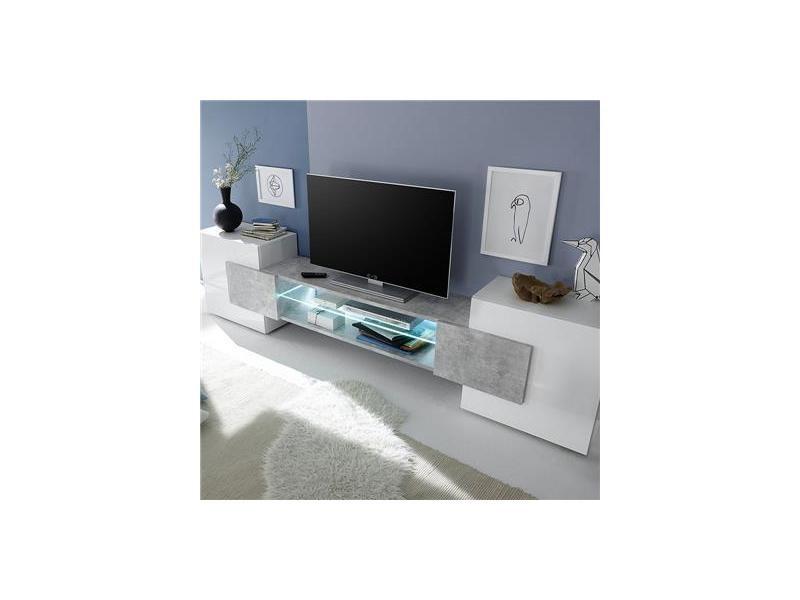 Meuble Tv Design Blanc Et Effet Béton Luxor 2 Vente De