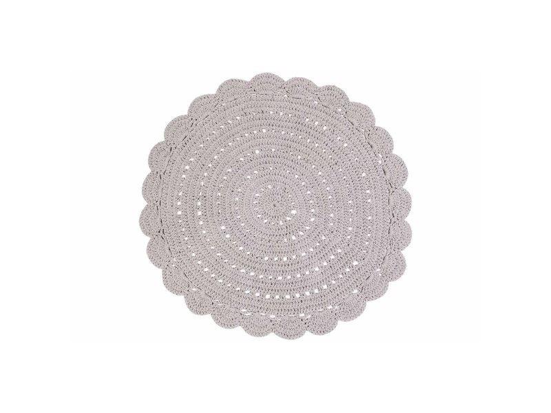 Tapis Rond En Crochet Gris Clair 120 Cm Alma Vente De Autre Objet