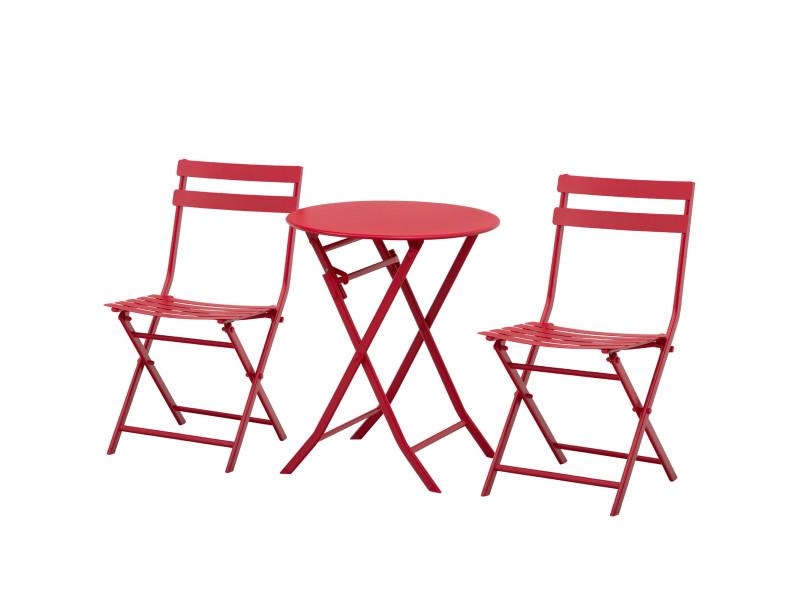 Salon de jardin bistro pliable - table ronde ø 60 cm avec 2 chaises pliantes - métal thermolaqué rouge