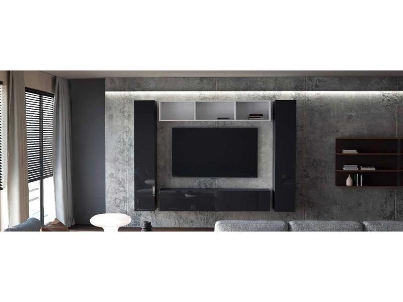 Ensemble de 4 meubles suspendus noir mat / blanc mat + noir laqué