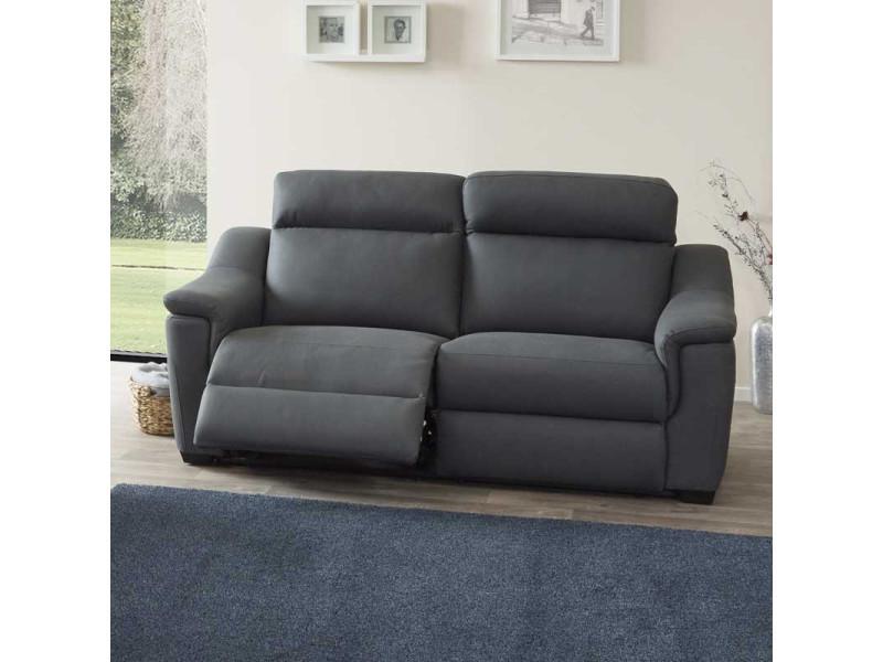 Canapé relax electrique 3 places tissu gris - genappe - l 200 x l 76 x h 87 - neuf