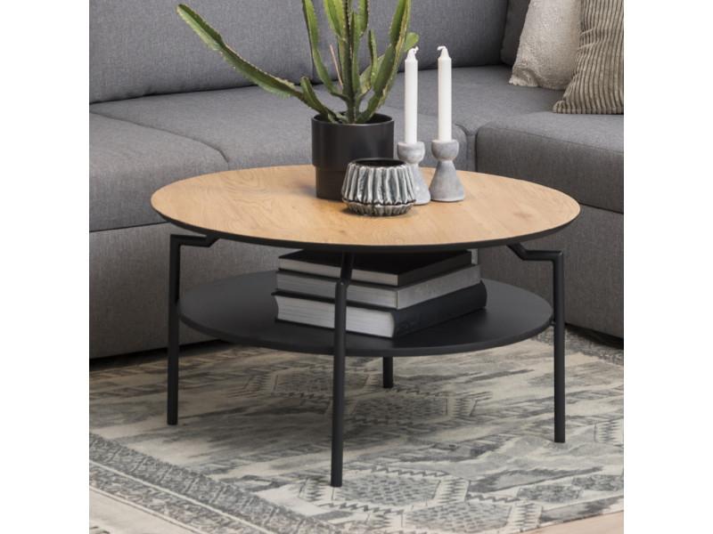 Table de café - cernik - ø 80 cm - chêne / noir - style industriel